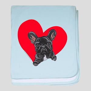 French Bulldog Love baby blanket