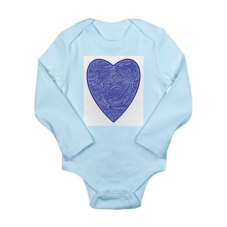 Blue Heart Long Sleeve Infant Bodysuit