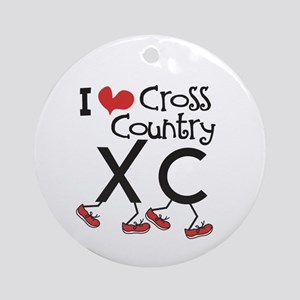 I heart Cross Country Running Ornament (Round)