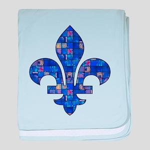 Blue Mosaic Fleur baby blanket