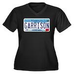 Garrison License Plate Women's Plus Size V-Neck Da