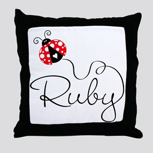 Ladybug Ruby Throw Pillow