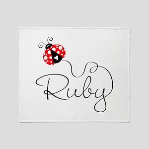 Ladybug Ruby Throw Blanket