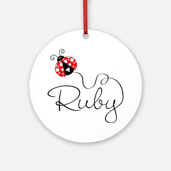 Ladybug Ruby Ornament (Round)