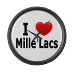 I Love Mille Lacs Large Wall Clock