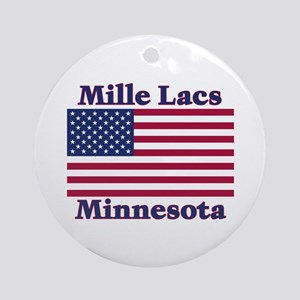 Mille Lacs US Flag Ornament (Round)
