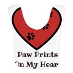 Paw prints on my heart Polyester Baby Bib