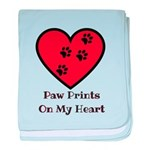 Paw prints on my heart baby blanket