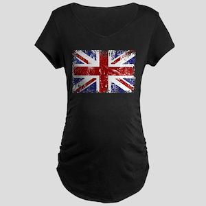 British Flag Punk Grunge Maternity Dark T-Shirt
