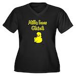 Mille Lacs Chick Women's Plus Size V-Neck Dark T-S