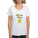 Mille Lacs Chick Women's V-Neck T-Shirt