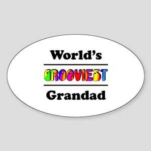 World's Grooviest Grandad Sticker (Oval)