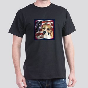 Am Staff Pit Bull Patriotic USA Flag Black T-Shirt