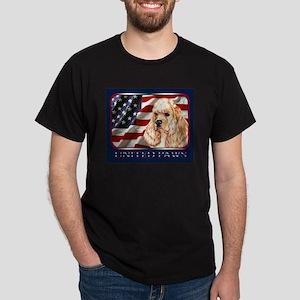 American Cocker Spaniel Buff US Flag Black T-Shirt