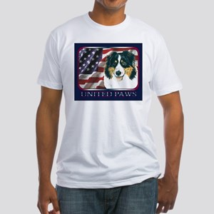 Australian Shepherd USA Flag Fitted T-Shirt