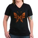 'Butterfly Tattoos Women's V-Neck Dark T-Shirt