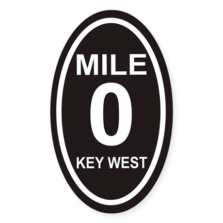Mile Zero Key West Euro Oval Sticker