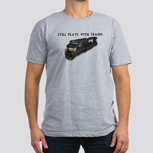 Still Plays With Trains Men's Fitted T-Shirt (dark
