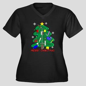 Nurse Christmas Women's Plus Size V-Neck Dark T-Sh