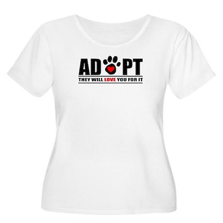 Adopt Paw Print Women's Plus Size Scoop Neck T-Shi