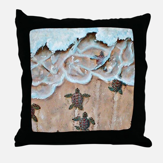 Turtle Hatchlings Throw Pillow