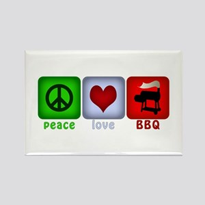 Peace Love and BBQ Rectangle Magnet