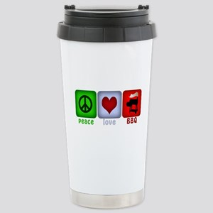 Peace Love and BBQ Stainless Steel Travel Mug