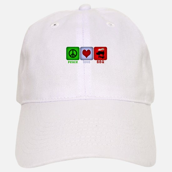 Peace Love and BBQ Baseball Baseball Cap