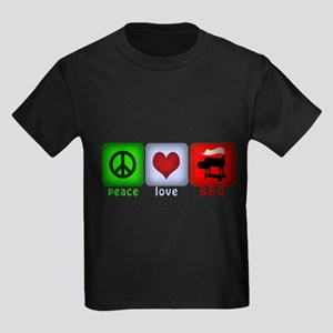 Peace Love and BBQ Kids Dark T-Shirt