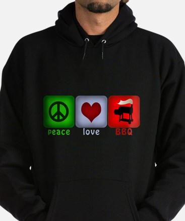 Peace Love and BBQ Hoodie (dark)