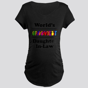 World's Grooviest Daughter-In-Law Maternity Dark T