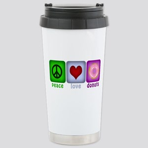 Peace Love and Donuts Stainless Steel Travel Mug