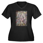 Paint Drip Women's Plus Size V-Neck Dark T-Shirt