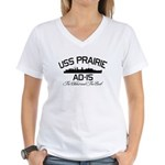 USS PRAIRIE AD-15 Women's V-Neck T-Shirt