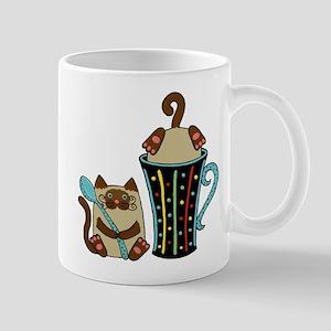 2 Siamese Cats & Coffee Mug on a Mug