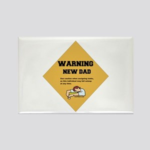Warning New Dad Rectangle Magnet