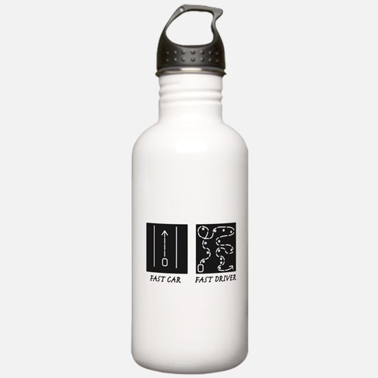 Fast Car Fast Driver Water Bottle