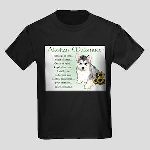 Alaskan Malamute Puppy Kids Dark T-Shirt
