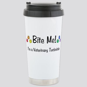 Bite Me Vet Tech - Stainless Steel Travel Mug