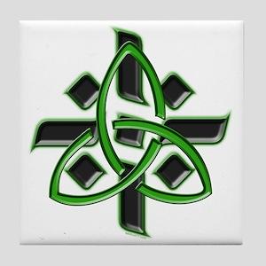 Celtic Cross Green Tile Coaster