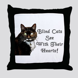 Blind Cats See Throw Pillow