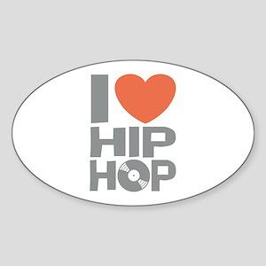 I Love Hip Hop Sticker (Oval)
