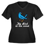 Bird is the Word Women's Plus Size V-Neck Dark T-S
