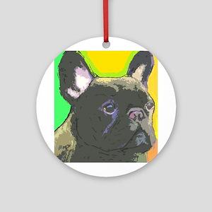 Brindle French Bulldog Ornament (Round)