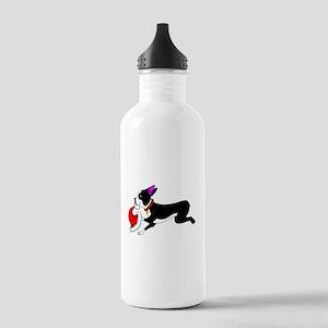 Boston Terrier Christmas Stainless Water Bottle 1.