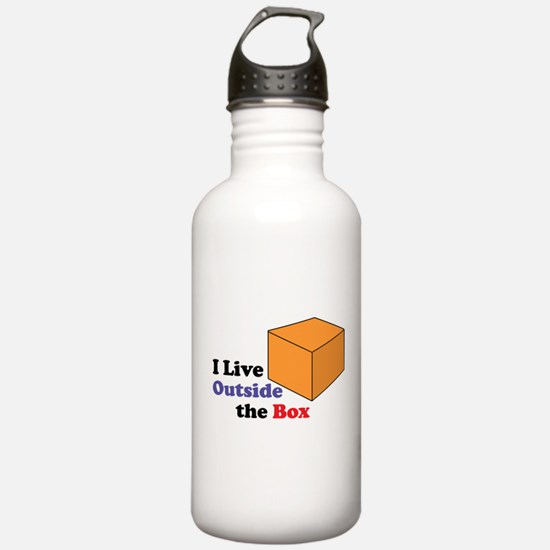 I Live Outside the Box Water Bottle