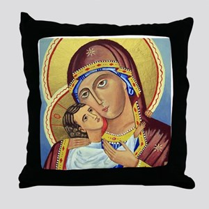 Russian Orthodox Icon of Mary & Jesus Pillow