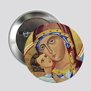 Russian Orthodox Icon of Mary & Jesus Button