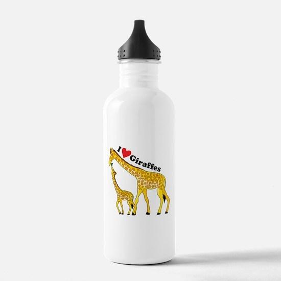 I Love Giraffes Water Bottle