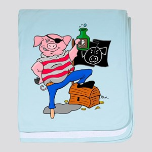 Pig Pirate Captain baby blanket